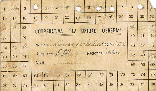 """Tarja de consum de la Cooperativa """"La Unidad Obrera"""""""